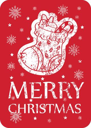 Christmas vintage greeting card  Vector illustration Vector