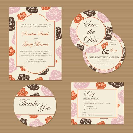 Beautiful vintage wedding invitation cards  Vector