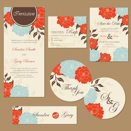 bridal shower: Beautiful vintage wedding invitation cards Illustration