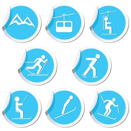uphill: Winter sport icons set  Vector illustration