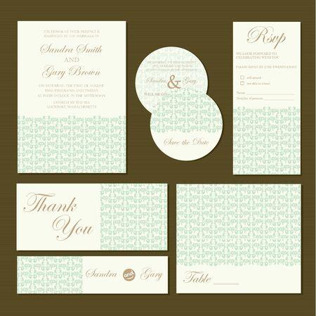 Hermosas tarjetas de invitación de la boda de la vendimia