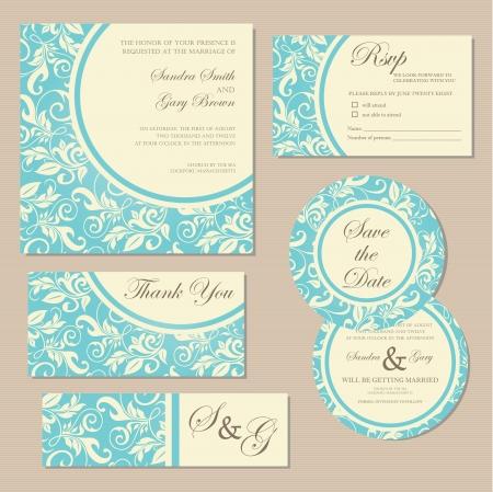 blue damask: Beautiful vintage wedding invitation cards  Illustration