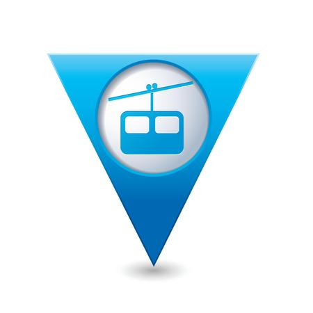 chairlift: Map pointer with chair lift icon  Vector illustration