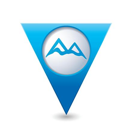 capped: Map pointer with mountain icon  Vector illustration