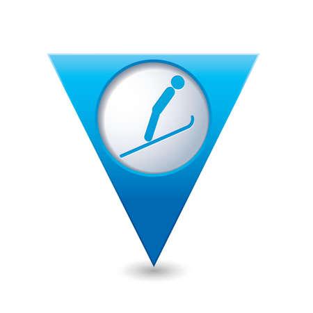springboard: Map pointer with ski springboard icon  Vector illustration