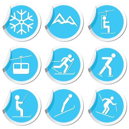 springboard: Deporte Iconos del invierno fijaron ilustración vectorial