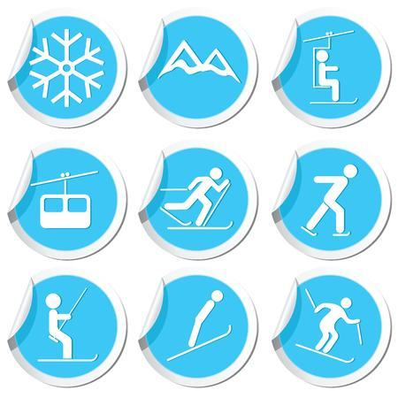 snow track: Winter sport icons set  Vector illustration