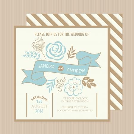 Belle carte d'invitation de mariage de cru Vector illustration
