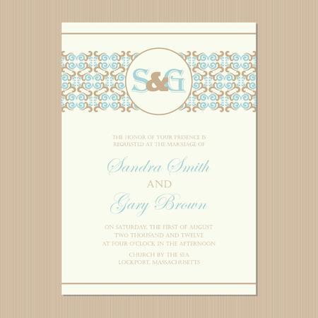 aniversario de bodas: Ilustraci�n hermosa tarjeta de invitaci�n de boda de la vendimia del vector