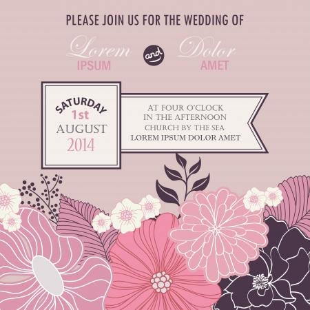花の結婚式の招待カード ベクトル イラスト