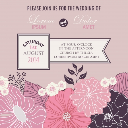 Floral wedding invitation card  Vector illustration Illustration