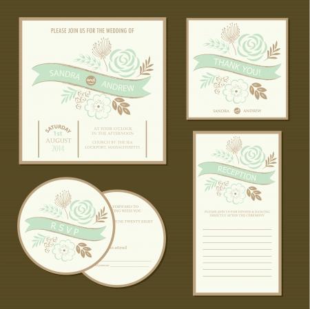 ビンテージ花結婚式招待状のセットのカード ベクトル図