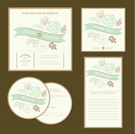 Set of vintage floral wedding invitation cards  Vector illustration