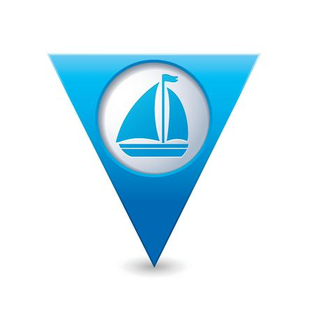map pointer: Blue triangular map pointer with sailboat icon