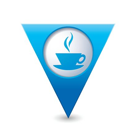 Blue triangular map pointer with hot coffee cup icon  Vector illustration Vector