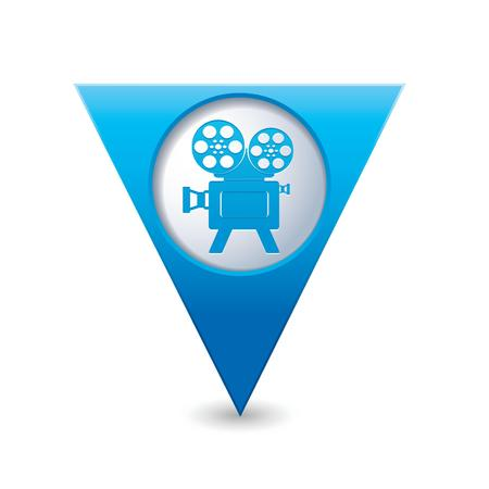 cinematografico: Puntero del mapa triangular azul con ilustraci�n vectorial icono del cine