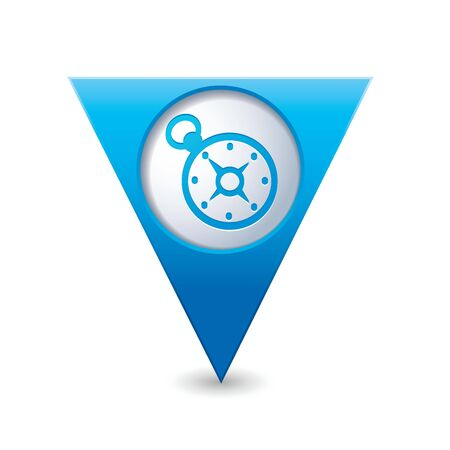 Blue triangular map pointer with compass icon Vector