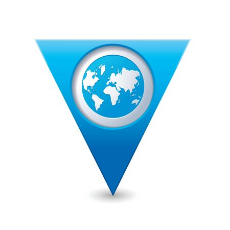 tour guide: Blue triangular map pointer with earth globe icon