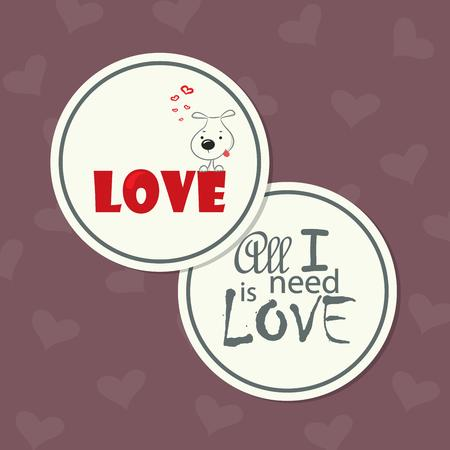 The cute round double-sided card for Valentine s Day, the background Vector