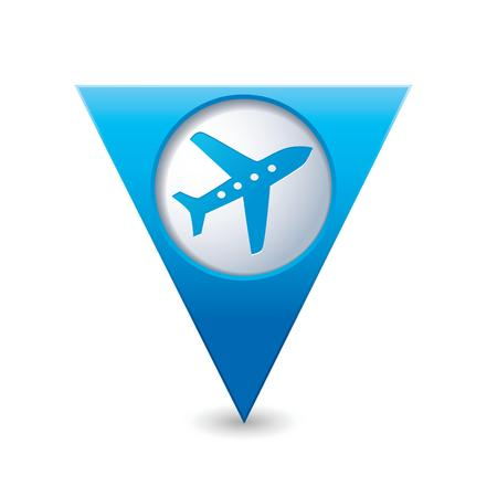 excursions: Blue triangular map pointer with airplane icon