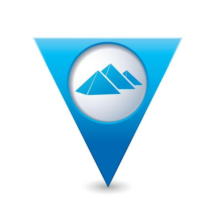 map pointer: Blue triangular map pointer with pyramids icon