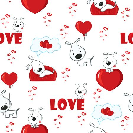 Cute background with dogs and hearts for Valentine s Day, seamless pattern, vector illustration Illustration