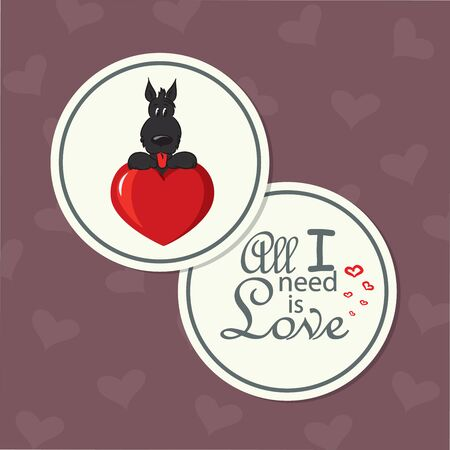 valentine s card: Cute round double-sided card for Valentine s Day with funny dog Illustration
