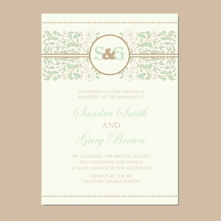 Wedding invitation card or announcement with beautiful floral ornament