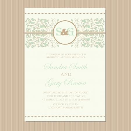 blumen verzierung: Hochzeitseinladungskarte oder Ank�ndigung mit sch�nen floralen Ornament