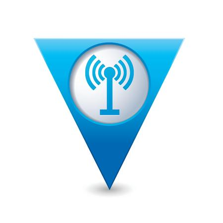 oftware: Blue triangular map pointer with wireless icon  Vector illustration
