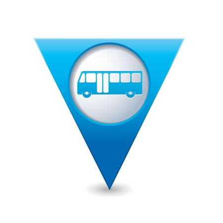 map pointer: Blue triangular map pointer with bus icon  Vector illustration