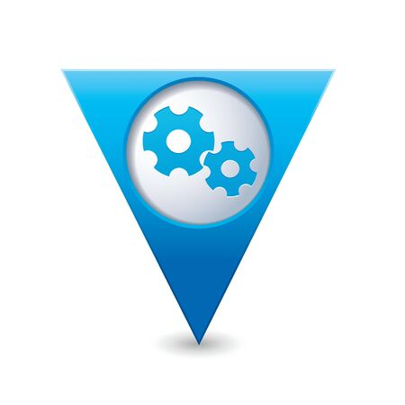 Blue triangular map pointer with gear icon Vector