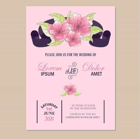 Wedding invitation card with ribbon and beautiful hand drawn flowers  Vector illustration Vector
