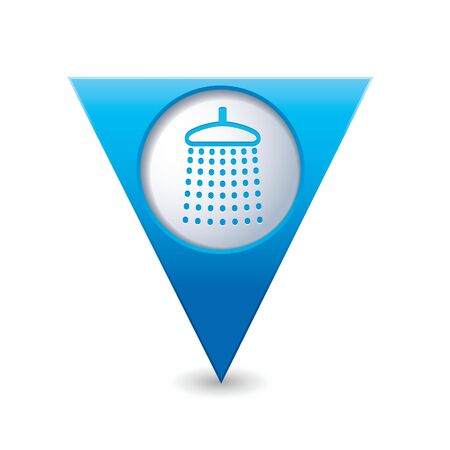 Blue triangular map pointer with shower icon  Vector illustration Stock Vector - 25280634