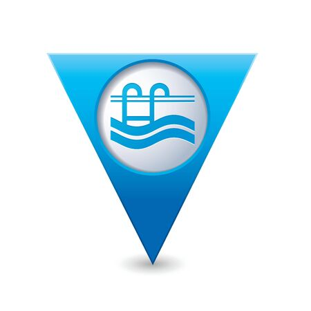 Blue triangular map pointer with swimming pool icon  Vector illustration Vector