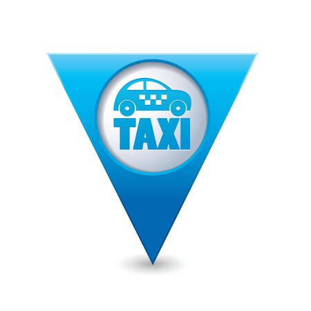 Blue triangular map pointer with taxi icon  Vector illustration Vector