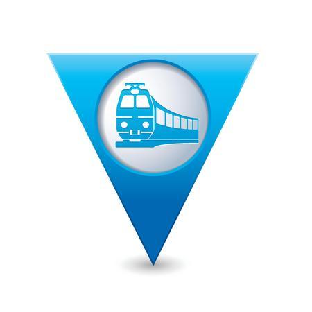 tramway: Mappa verde puntatore con il treno simbolo illustrazione vettoriale Vettoriali