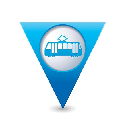 Blue triangular map pointer with tram icon  Vector illustration Vector