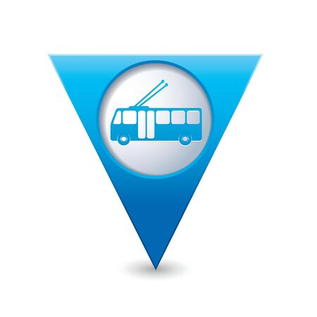 trolleybus: Blue triangular map pointer with trolleybus icon  Vector illustration