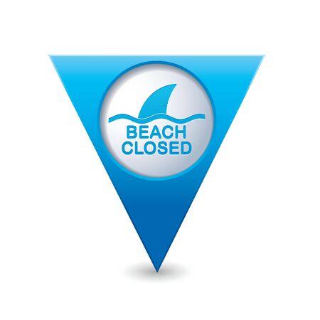 sighting: Beach Closed, shark sighting sign on blue triangular map pointer  Vector illustration Illustration