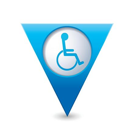 Blue triangular map pointer with handicap icon  Vector illustration Vector