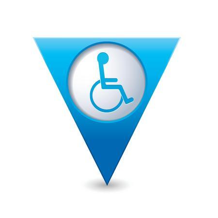 paralyze: Blue triangular map pointer with handicap icon  Vector illustration