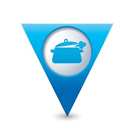 Blue triangular map pointer with dining room icon  Vector illustration Vector