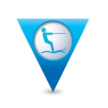 water  skier: Blue triangular map pointer with water skiing icon  Vector illustration