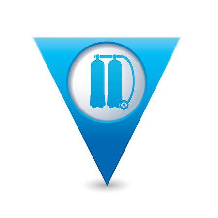 aqualung: BLUE Map puntatore triangolare con autorespiratore icona illustrazione vettoriale