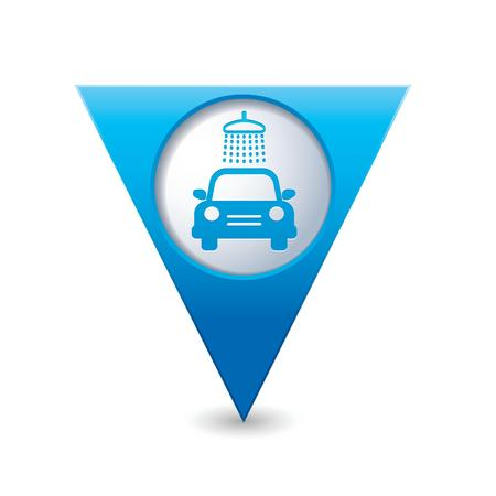 Blue triangular map pointer with car wash icon  Vector illustration Vector
