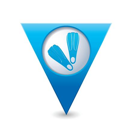 Blue triangular map pointer with flippers icon  Vector illustration Stock Vector - 25529494