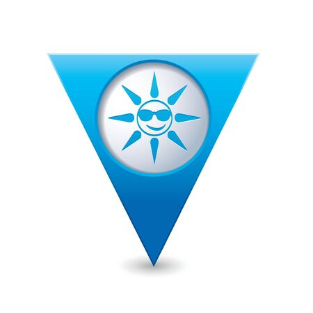 excursions: Sun in sunglasses icon on blue triangular map pointer  Vector illustration