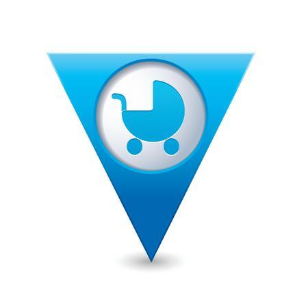 nursing mother: Puntero del mapa triangular azul con coche de beb� icono de ilustraci�n vectorial Vectores