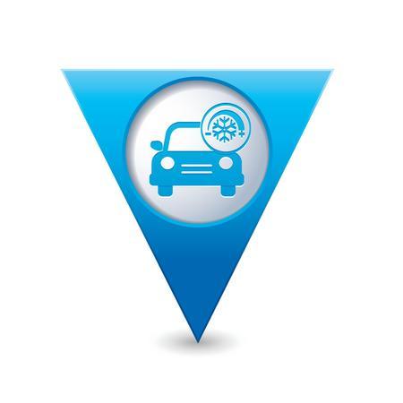 Servicio del coche con el icono del aparato de aire acondicionado en el azul triangular ilustración puntero del mapa vectorial Foto de archivo - 25529511